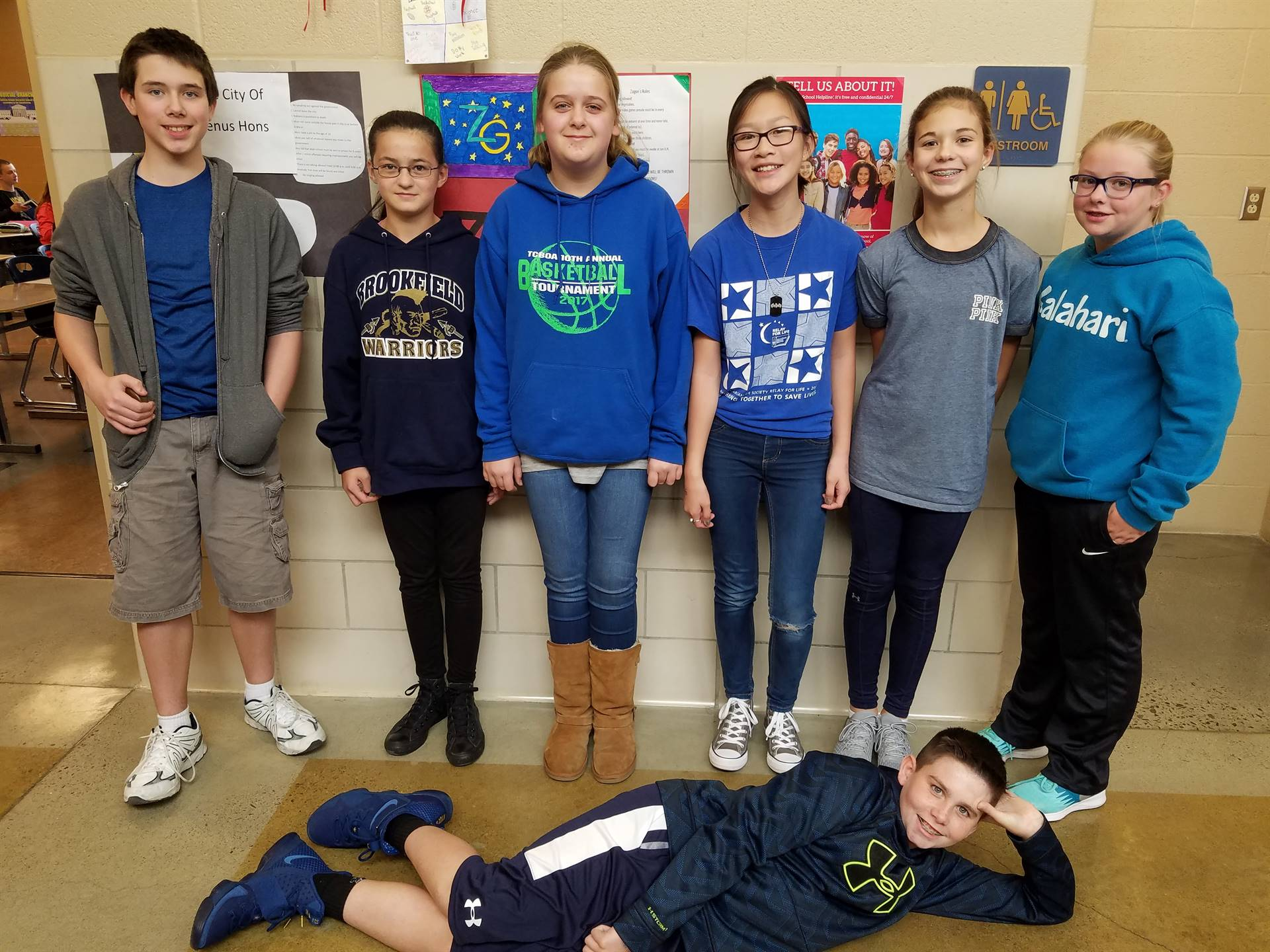 Just a few of the BMS students that recognized National Blue Shirt Day (10/2) to Stomp Out Bullying