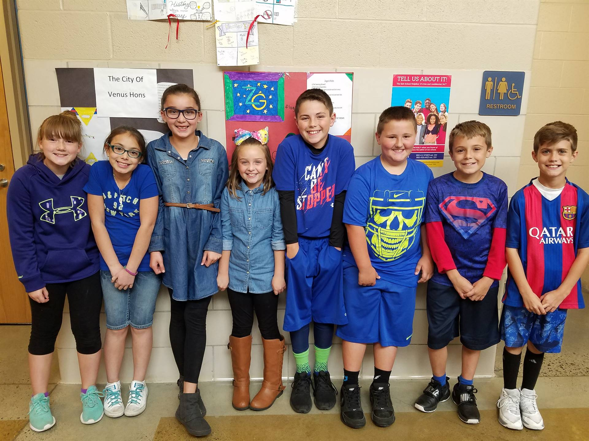 Just a few of the BMS students that recognized National Blue Shirt Day (10/2) to Stomp Out Bullying.