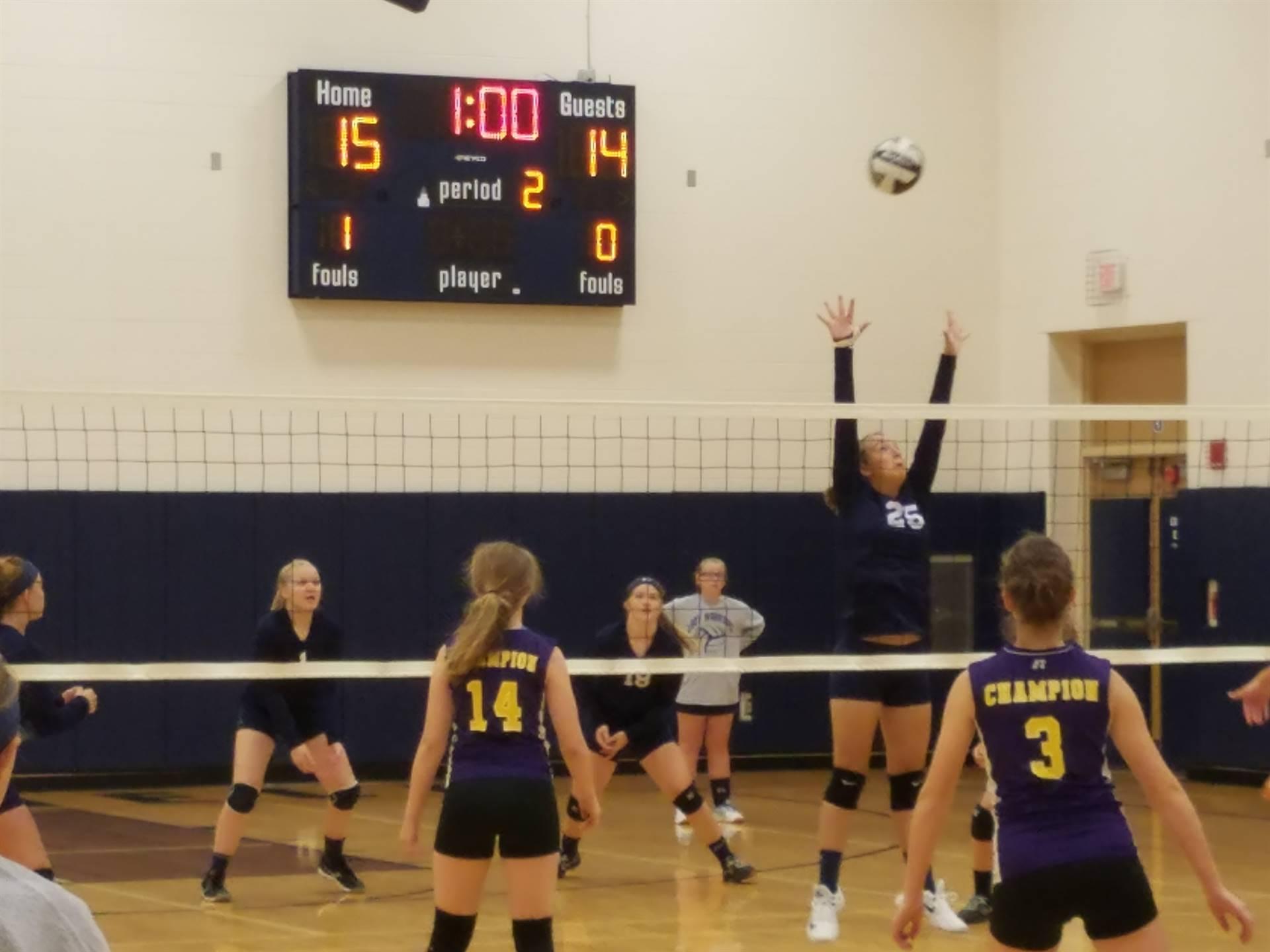 eighth grade volleyball versus champion