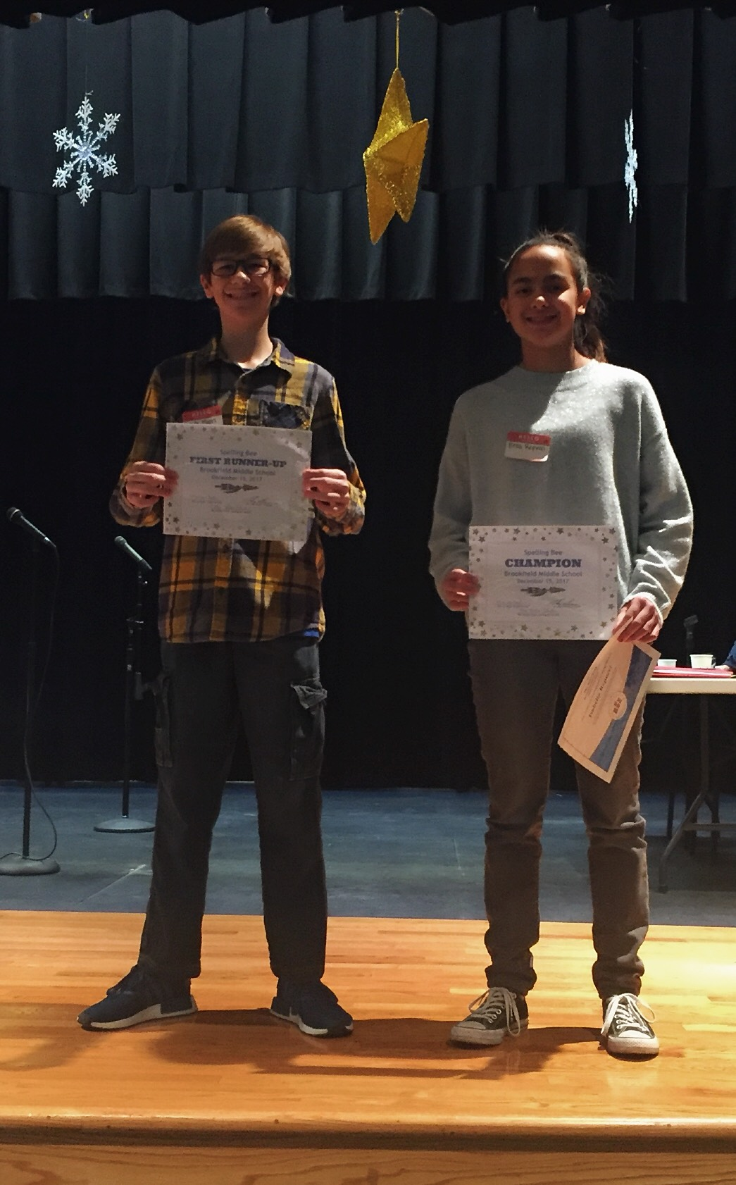 2017 Spelling Bee Champ Isabella Respucci and Runner-up Brady Myers