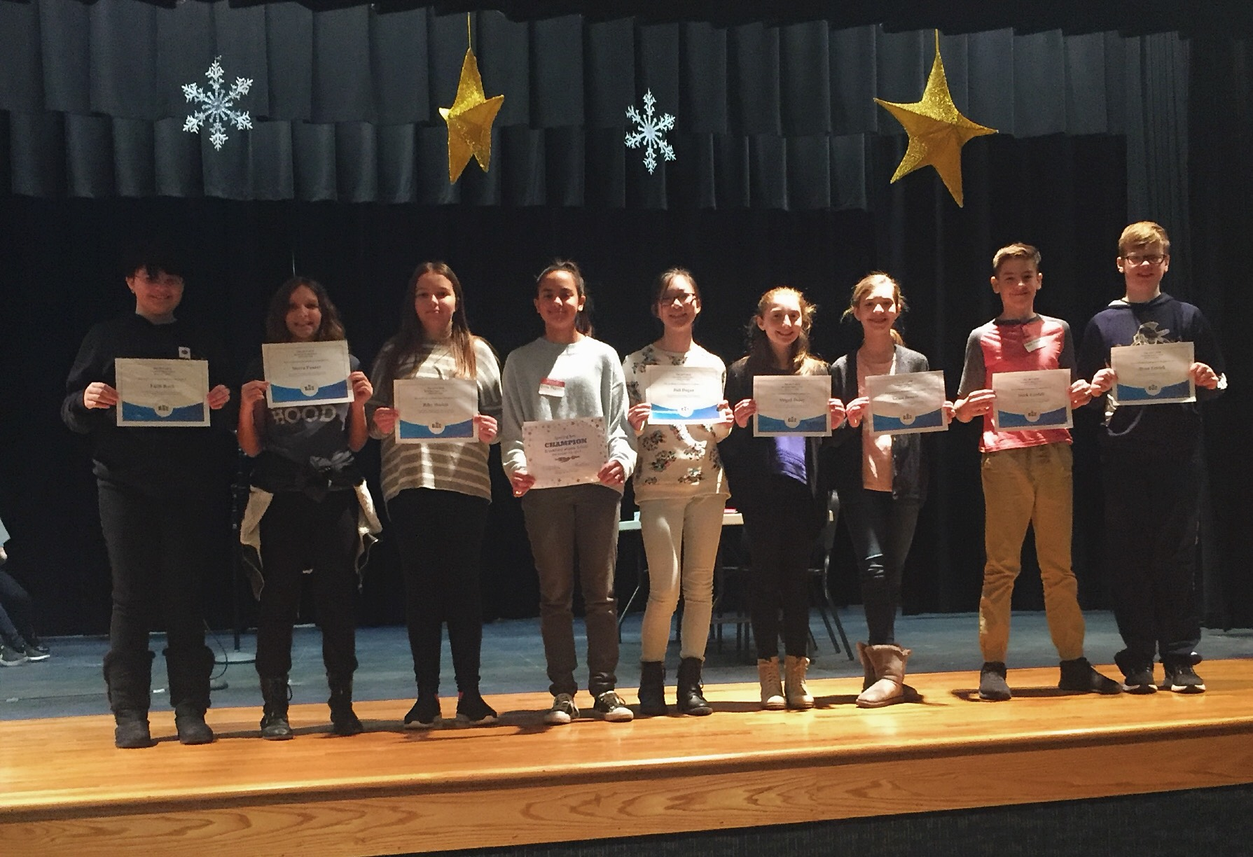seventh grade spelling bee participants