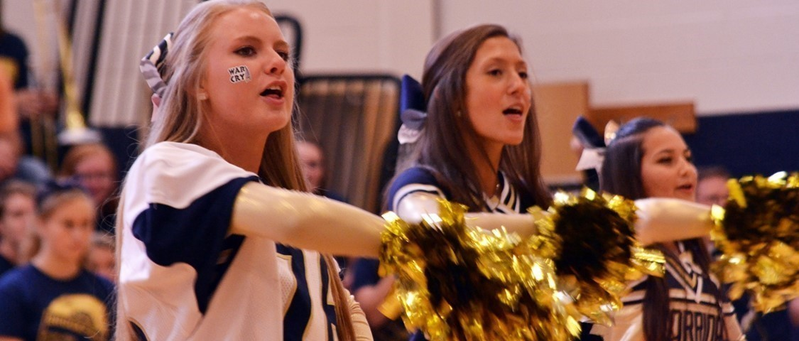 Cheerleaders at the Homecoming pep assembly