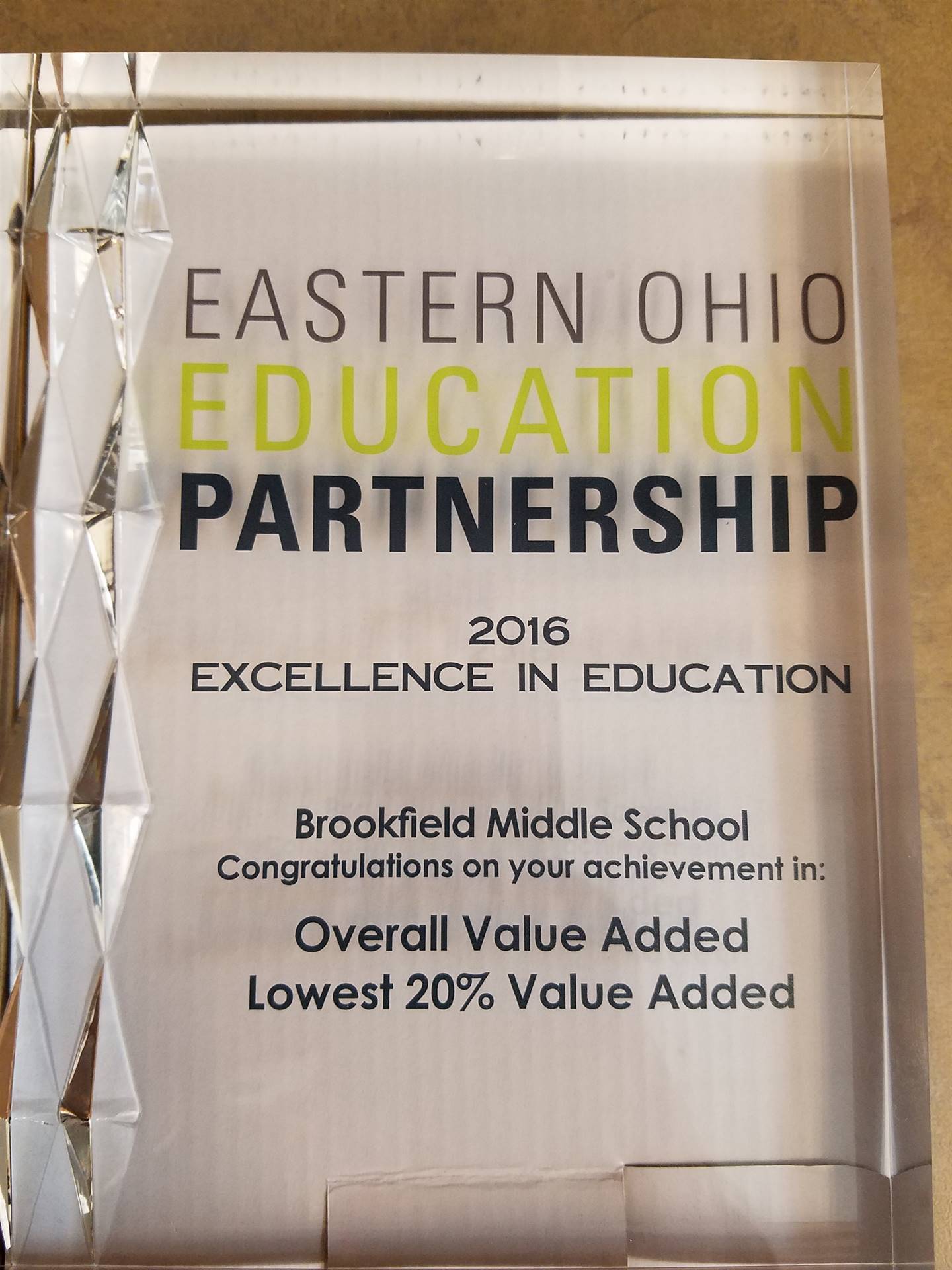 2016 Eastern Ohio Partnership Excellence in Education