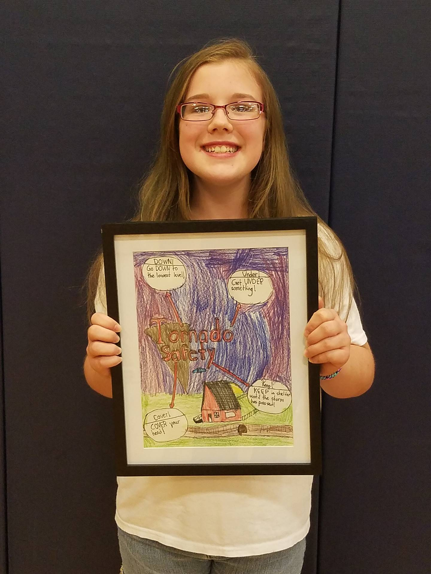 Ashley Harden won the State 2017 Severe Weather Awareness Poster Contest