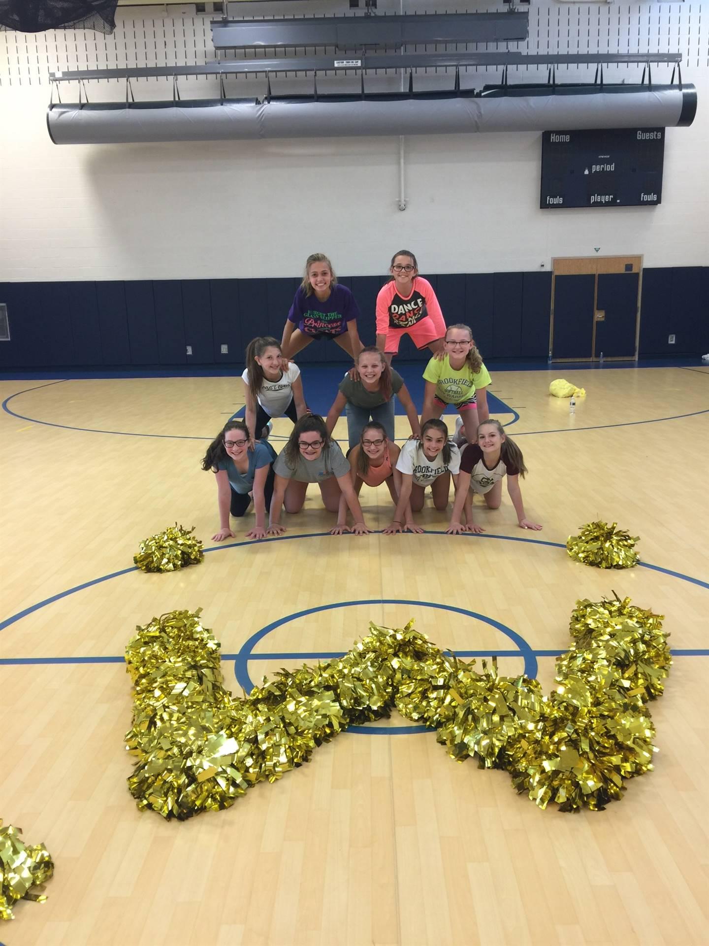 BMS Cheerleaders practicing