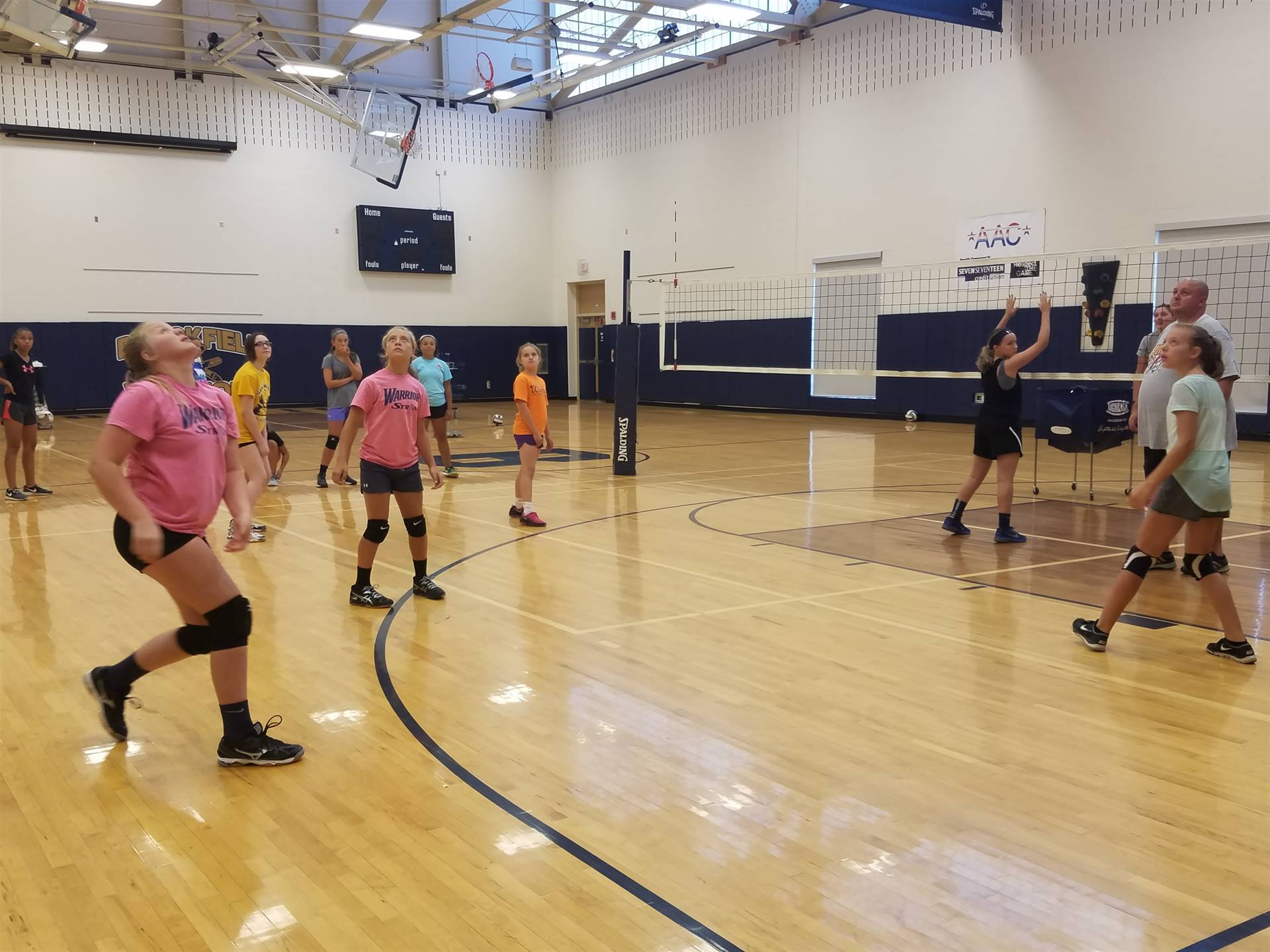 BMS Volleyball Team working hard at their first practice