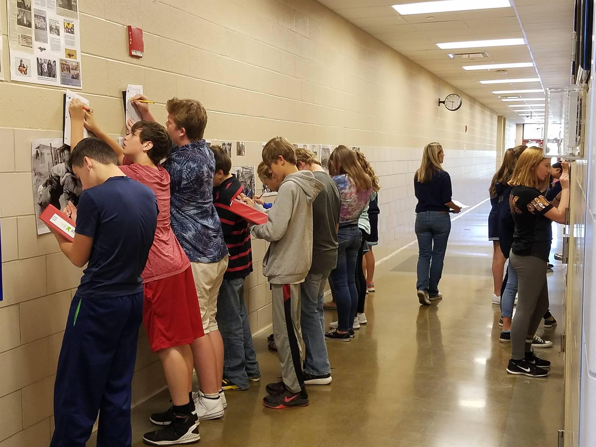 8th Grade gallery walk in Mrs. Horn's ELA class