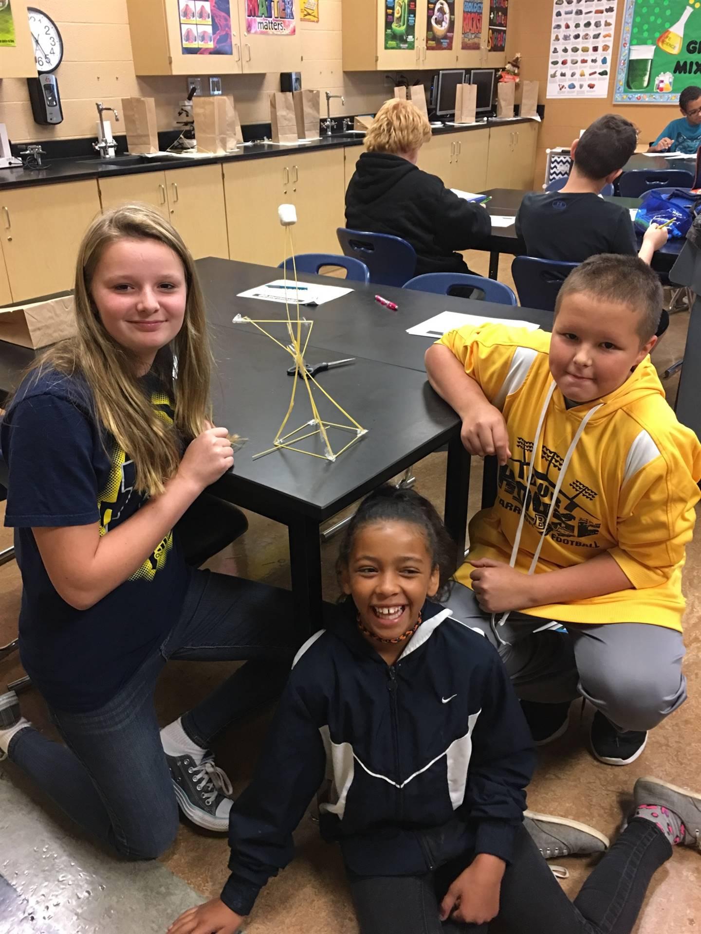"""Mrs. Pierko's 6th grade Science """"Mashmallow Challenge"""" Winners"""
