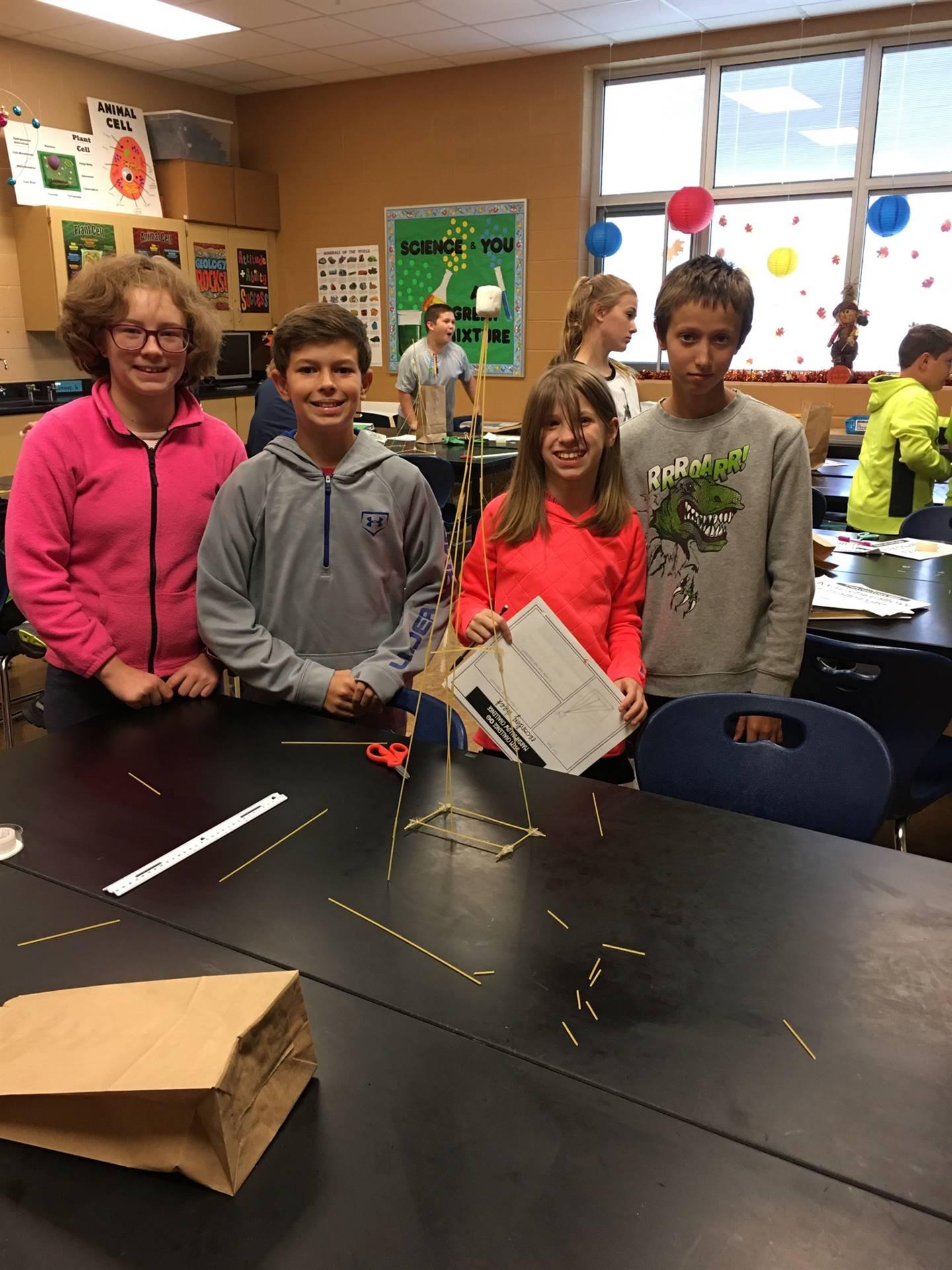 """Mrs. Pierko's 6th grade Science """"Marshmallow Challenge"""" Winners"""