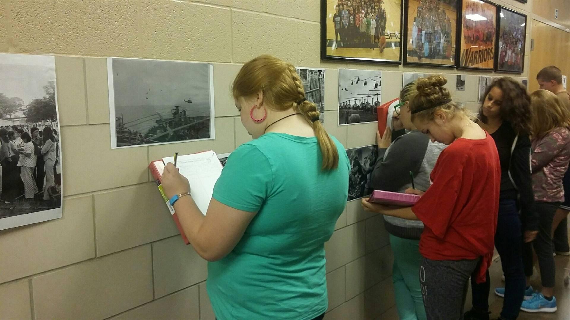 "8th grade ELA classes during their ""Gallery Walk"""