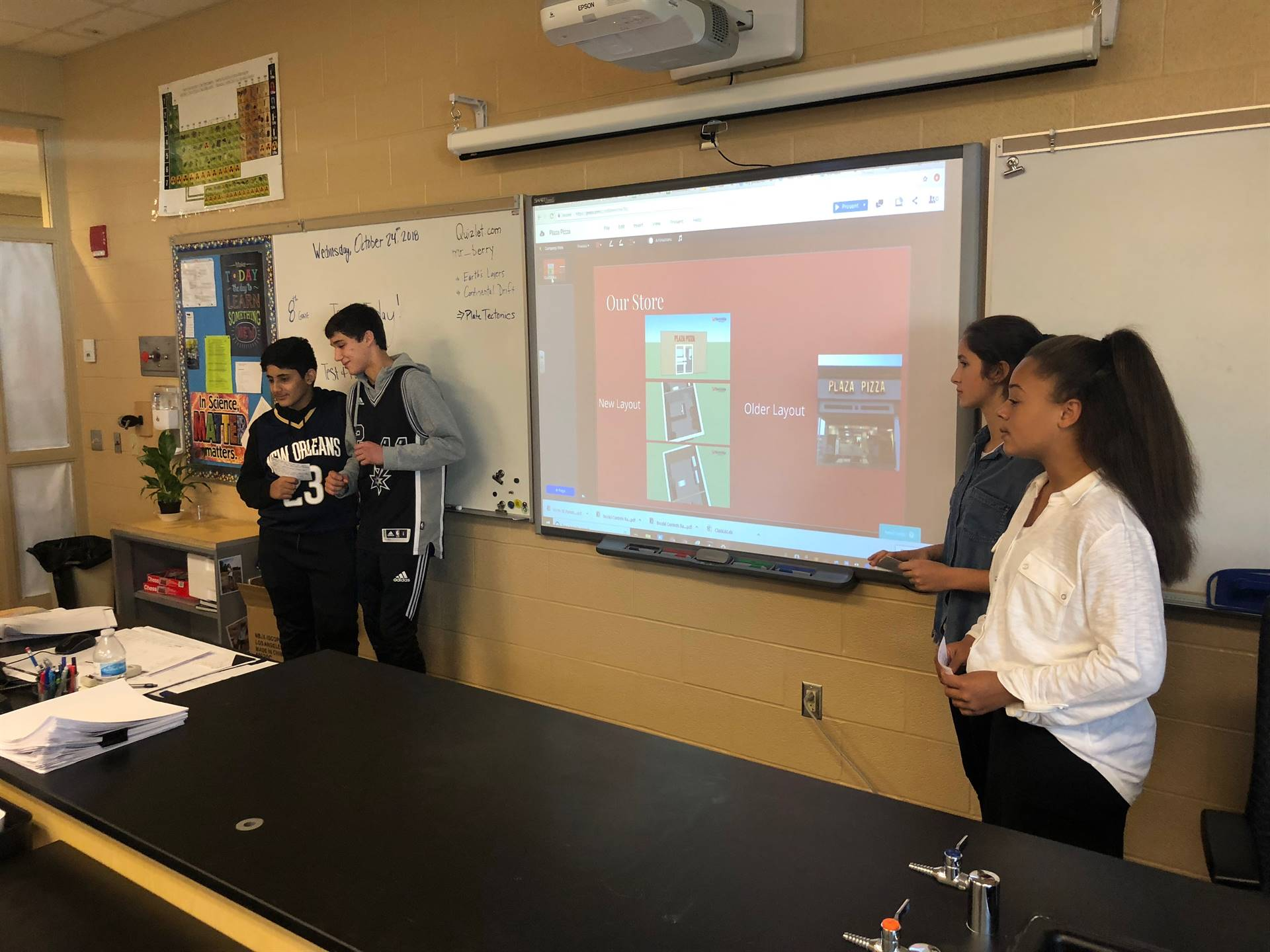 8th Grade Students Presenting Solutions to Community Business Owners