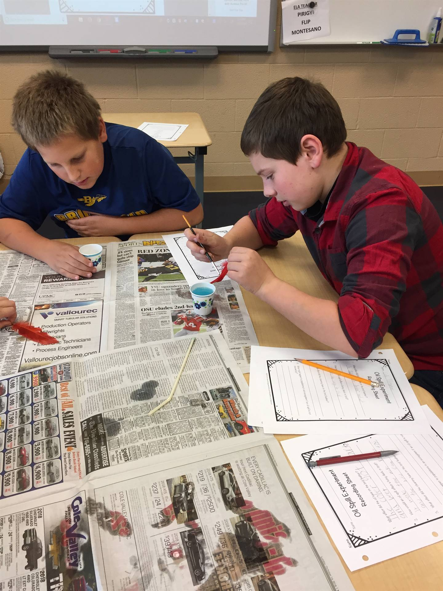 5th Grade Science studying the effects of oil spills on bird feathers.