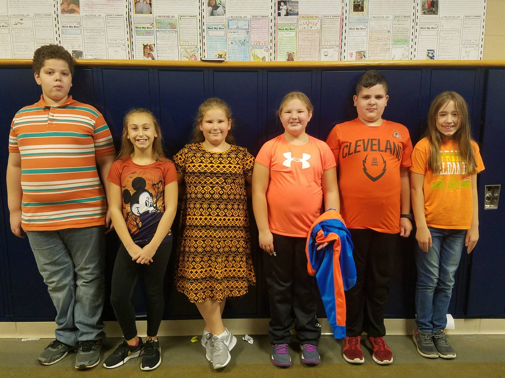 """BMS Students wearing Orange in support of """"Unity Day""""."""