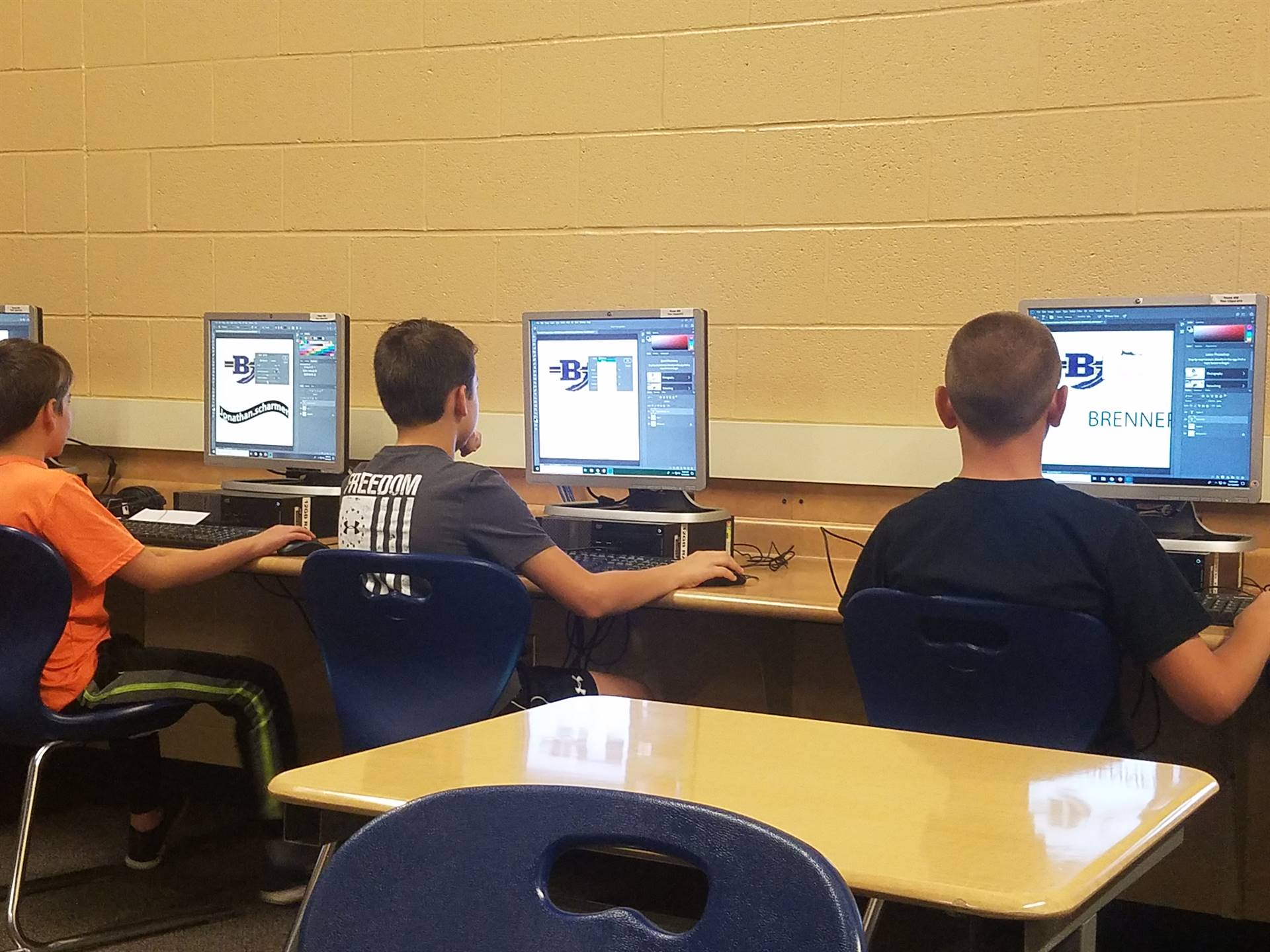 5th Grade students using Photoshop to design Stickers thru Inventor Cloud