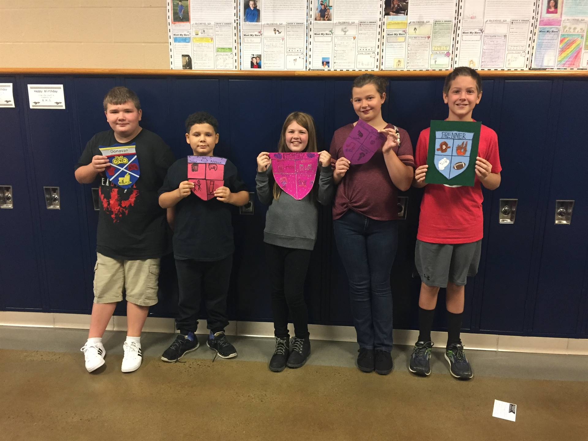 Mrs. Pirigyi's 5th Grade Class created family Coat of Arms.