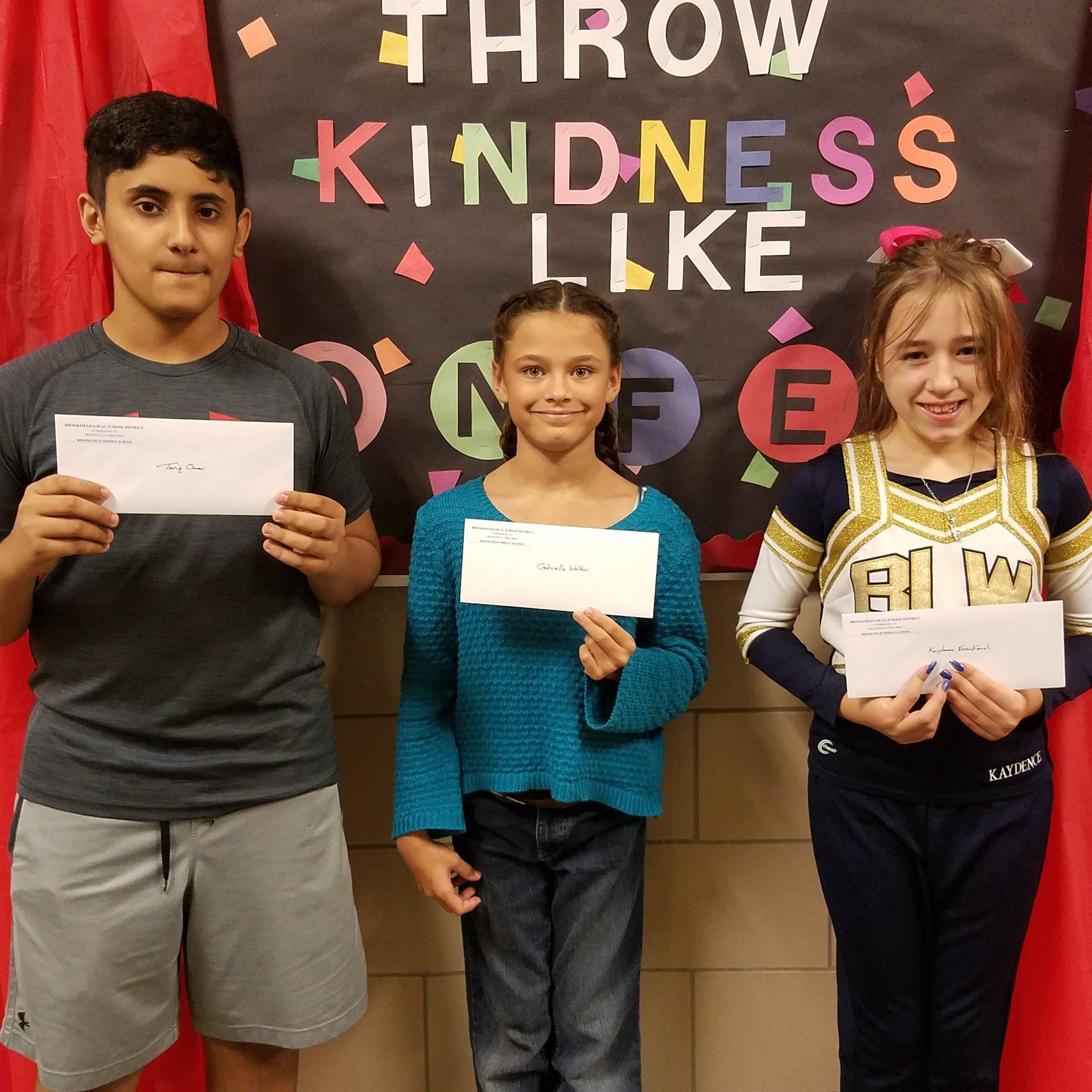 """Caught Being Kind"" Winners:  Tariq Omar, Shaniah Wise & Kaydence Evankovich"