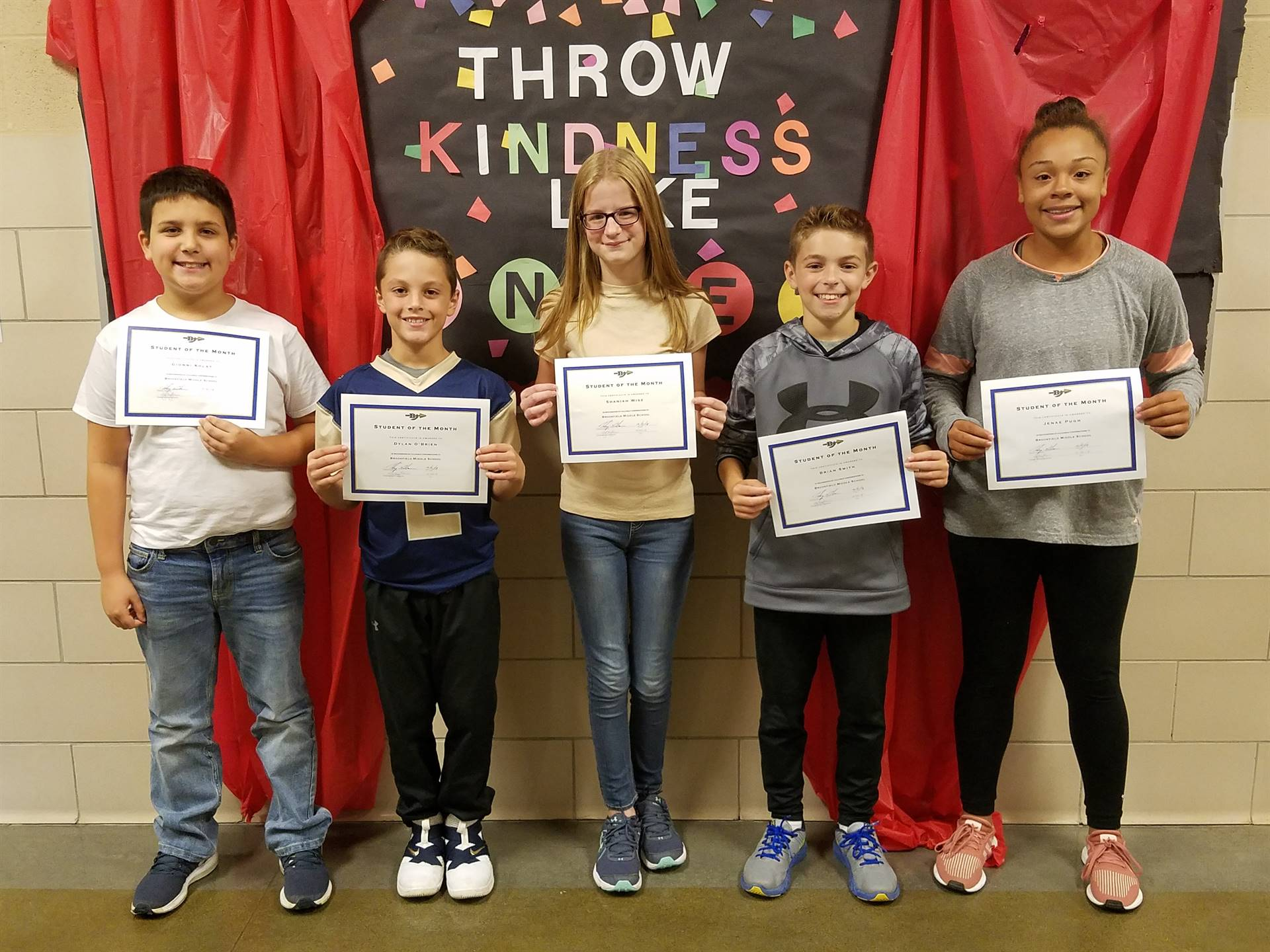 September Students of the Month: G. Kolat, D. O'Brien, G. Walker, B. Smith & J. Pugh