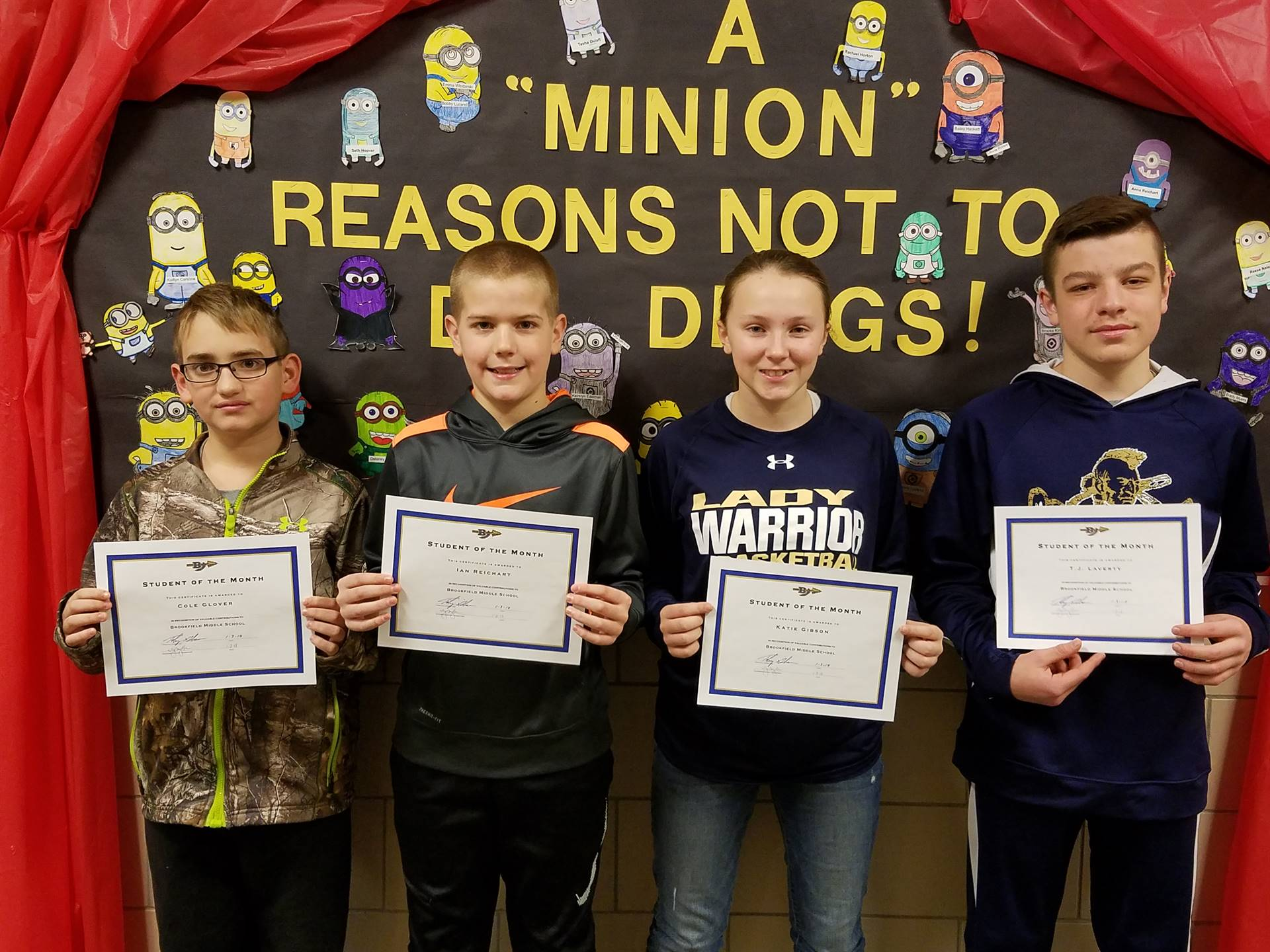 December Students of the Month: C. Glover, I. Reichart, K. Gibson, TJ Laverty