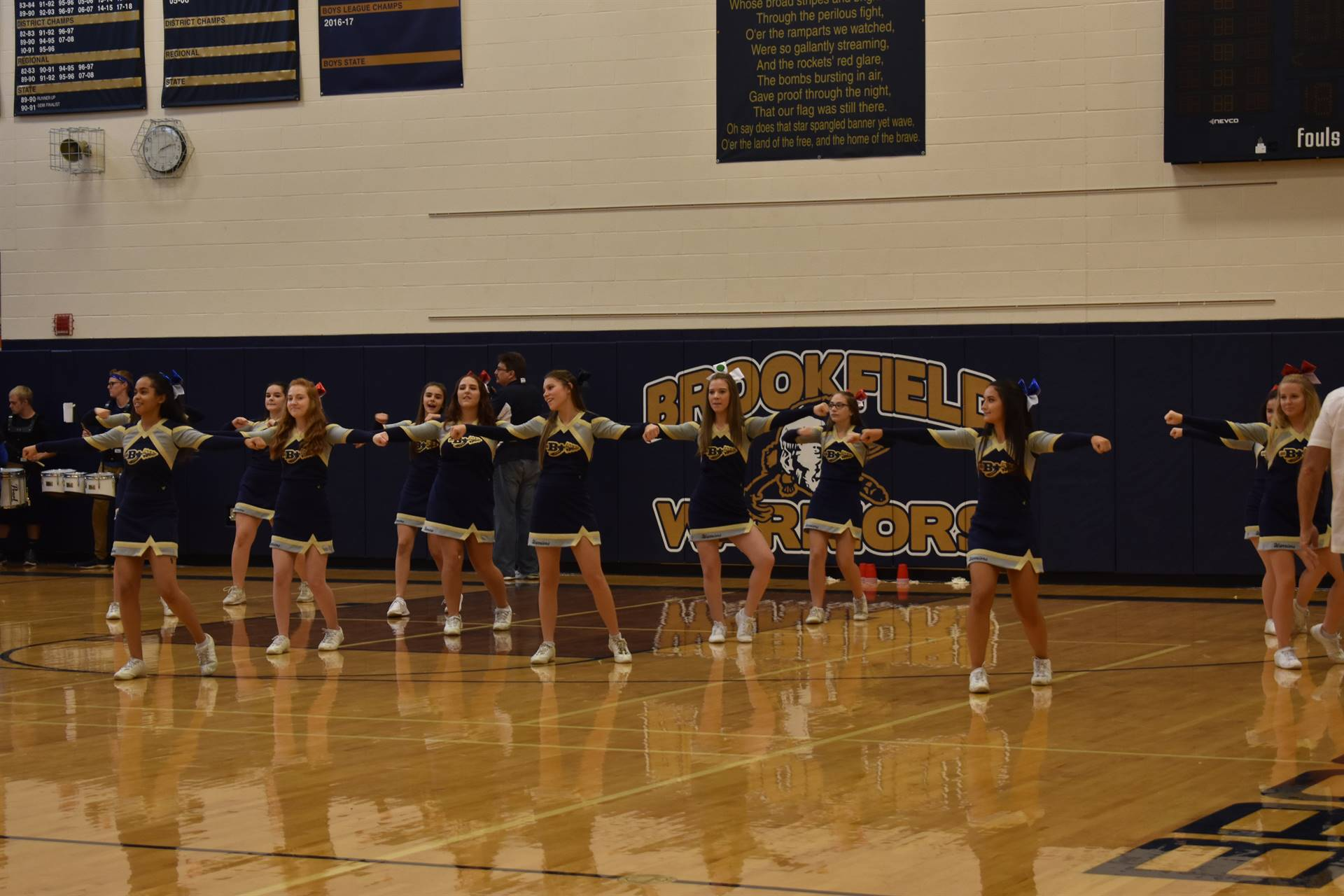 The cheerleaders during Brookfield High School Pep Assembly