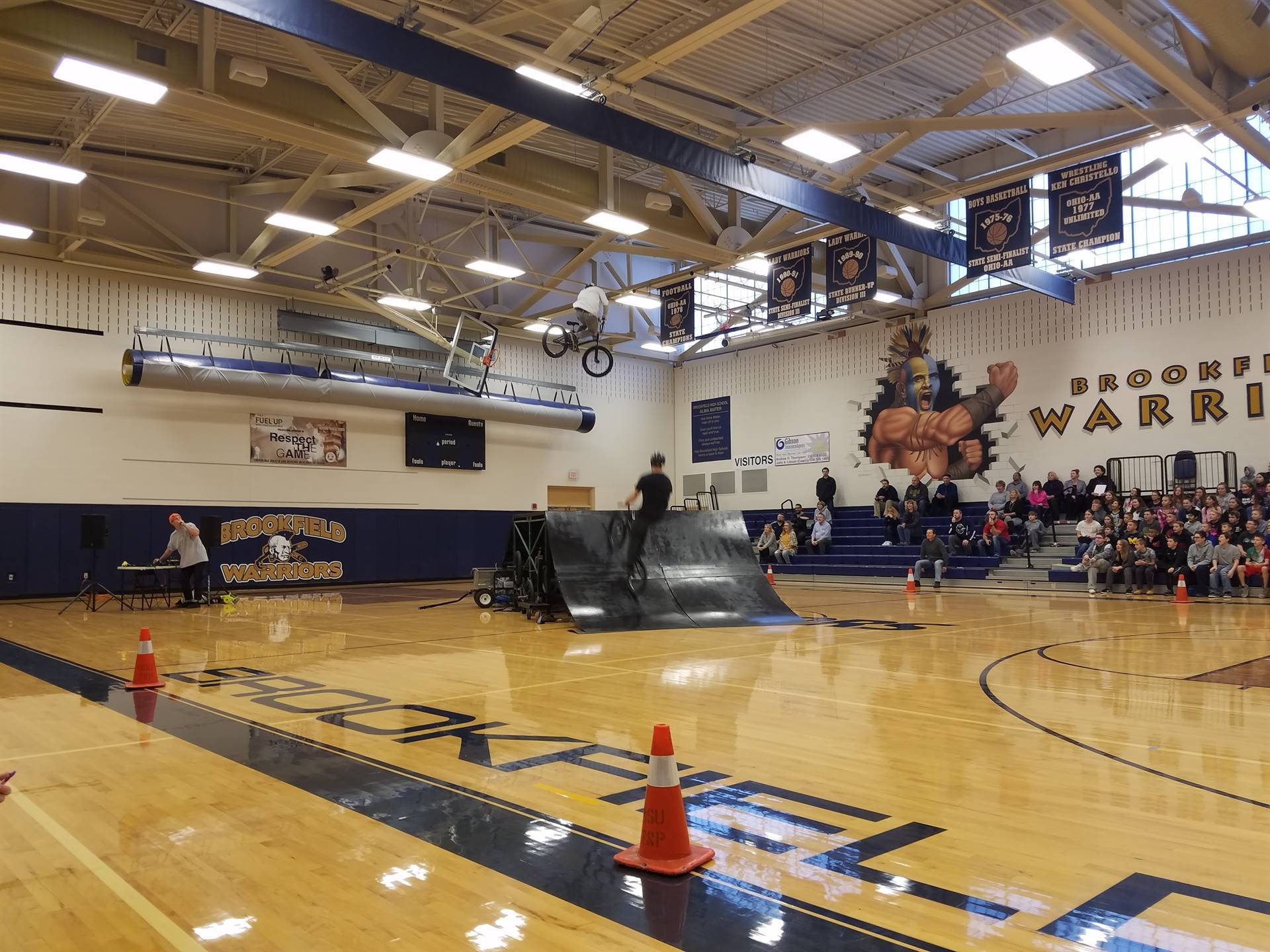 BMX Stunt Riders during the SADD Assembly.