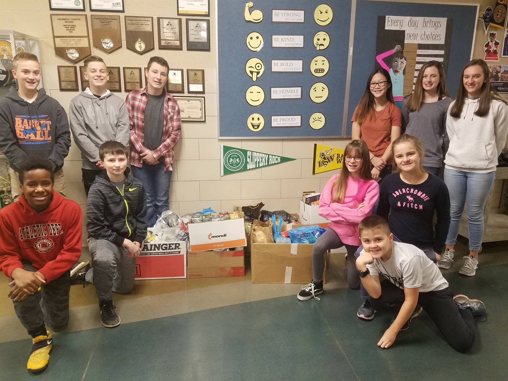 Student Council sponsored food drive helped provide Thanksgiving dinners for Community Families.