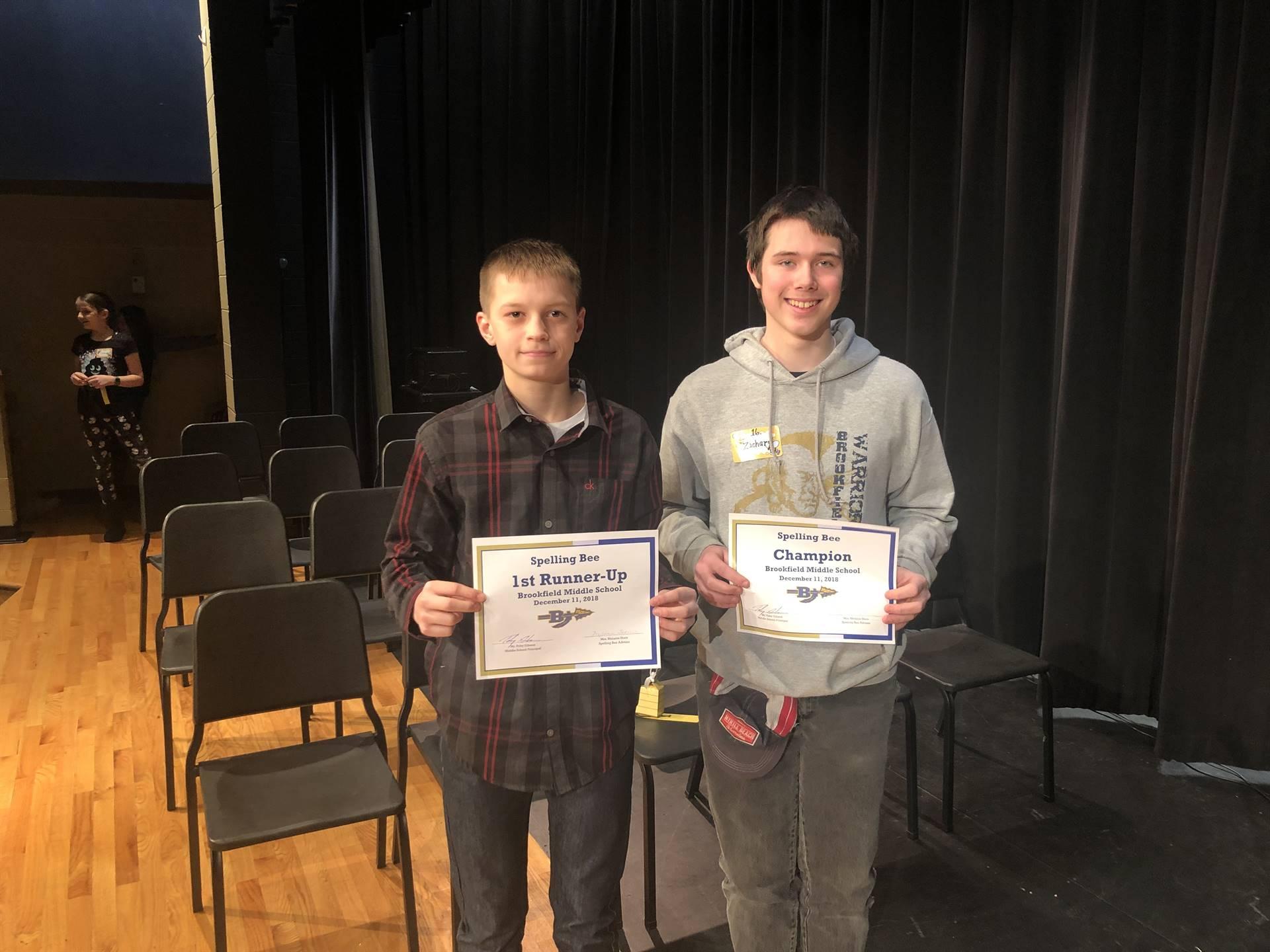 Spelling Bee Champ - Zach Harden    1st Runner-up: Ashton O'Brien