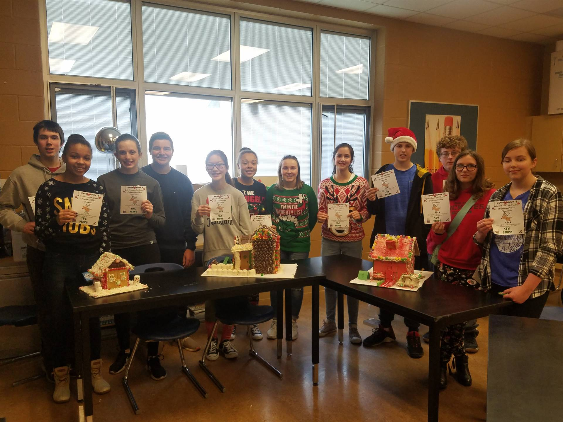 """8th Grade """"Gingerbread House Contest""""  Top 3 Winning Teams"""