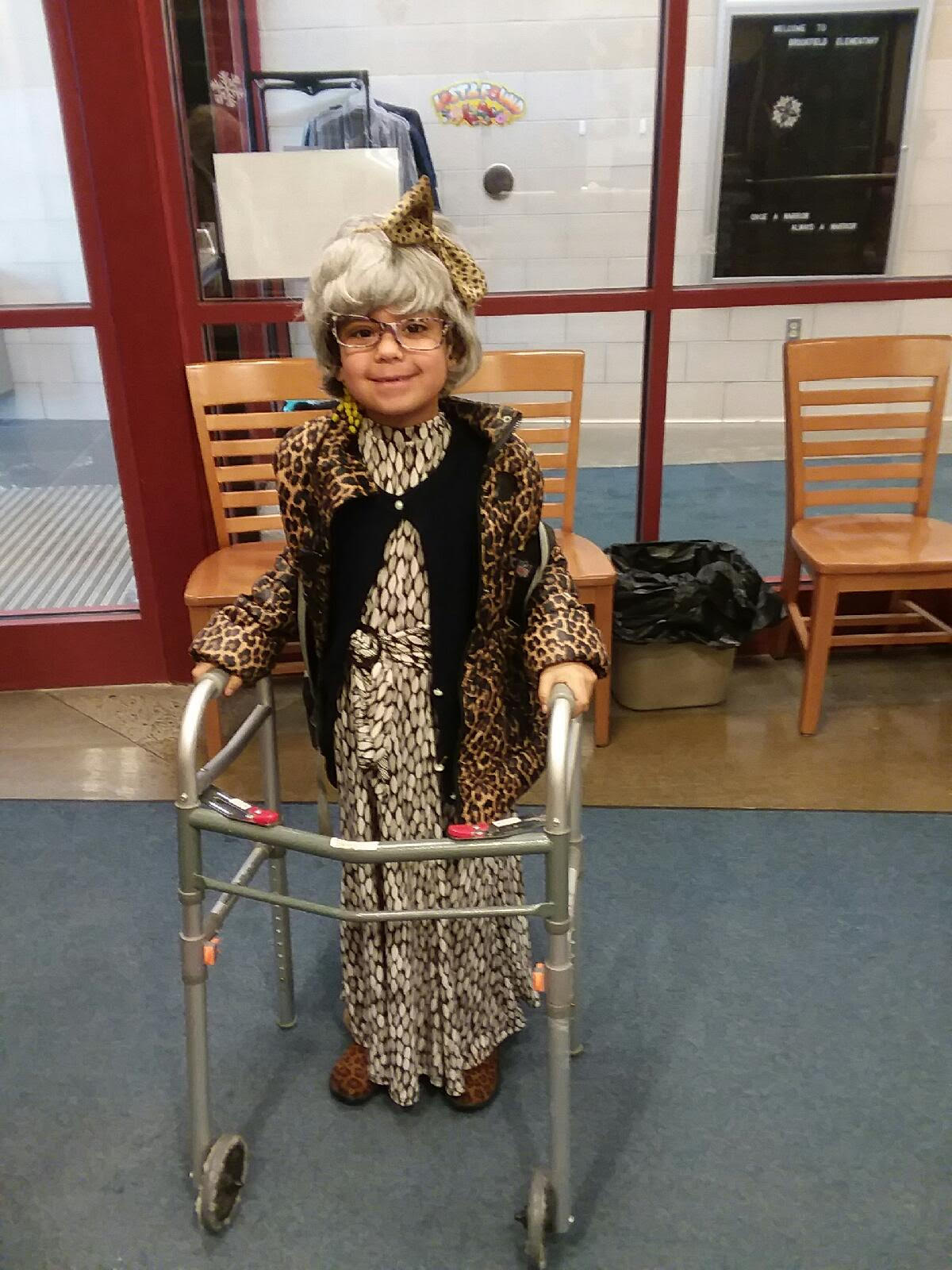 child dressed as old woman