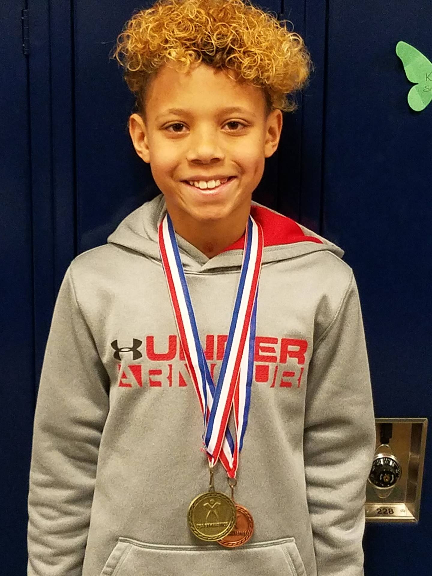 Justin Calip - Gymnastics State Champion in the Vault and 8th in the Pommel.