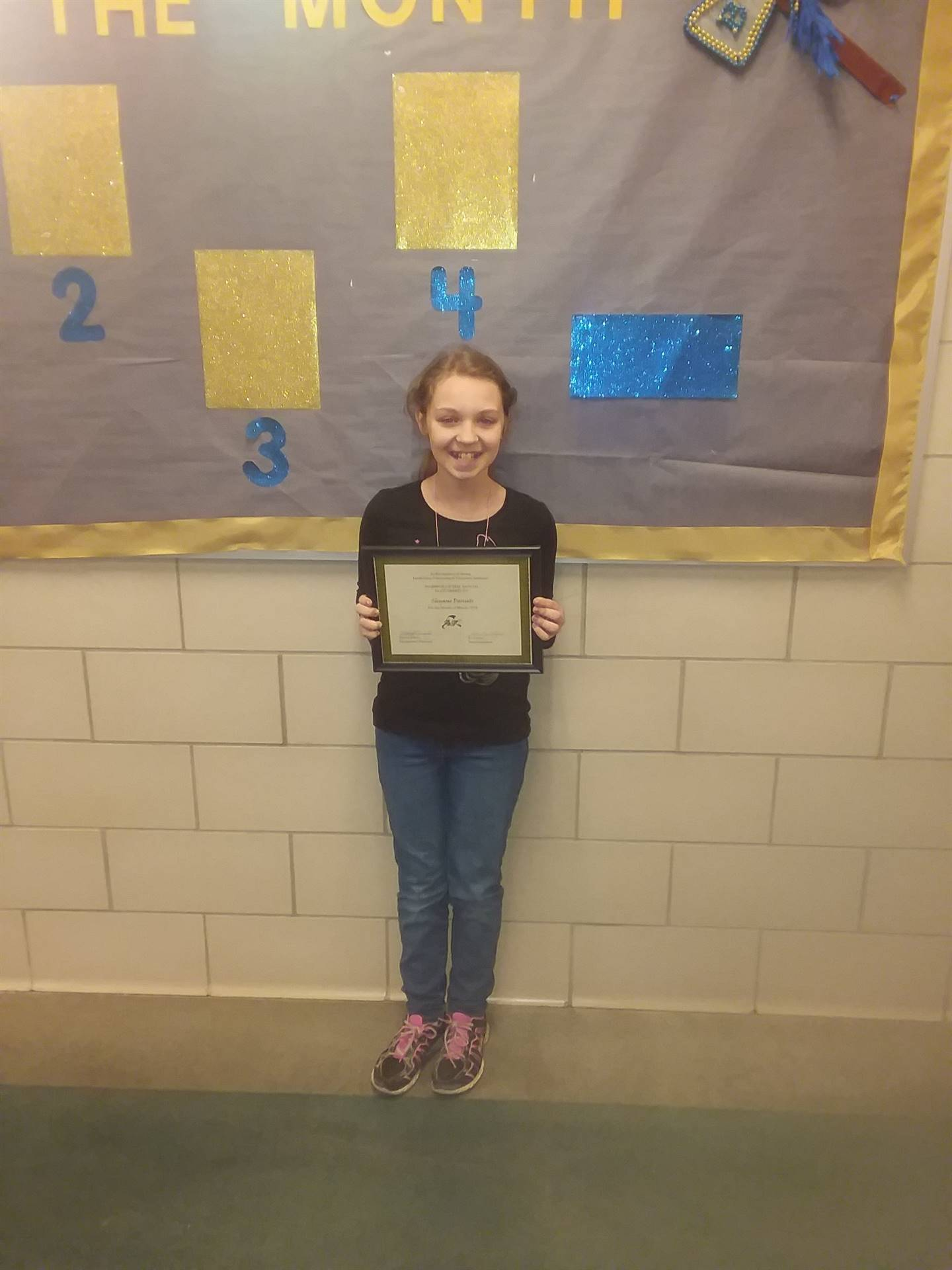 fourth grade warrior of the month shyane daniels