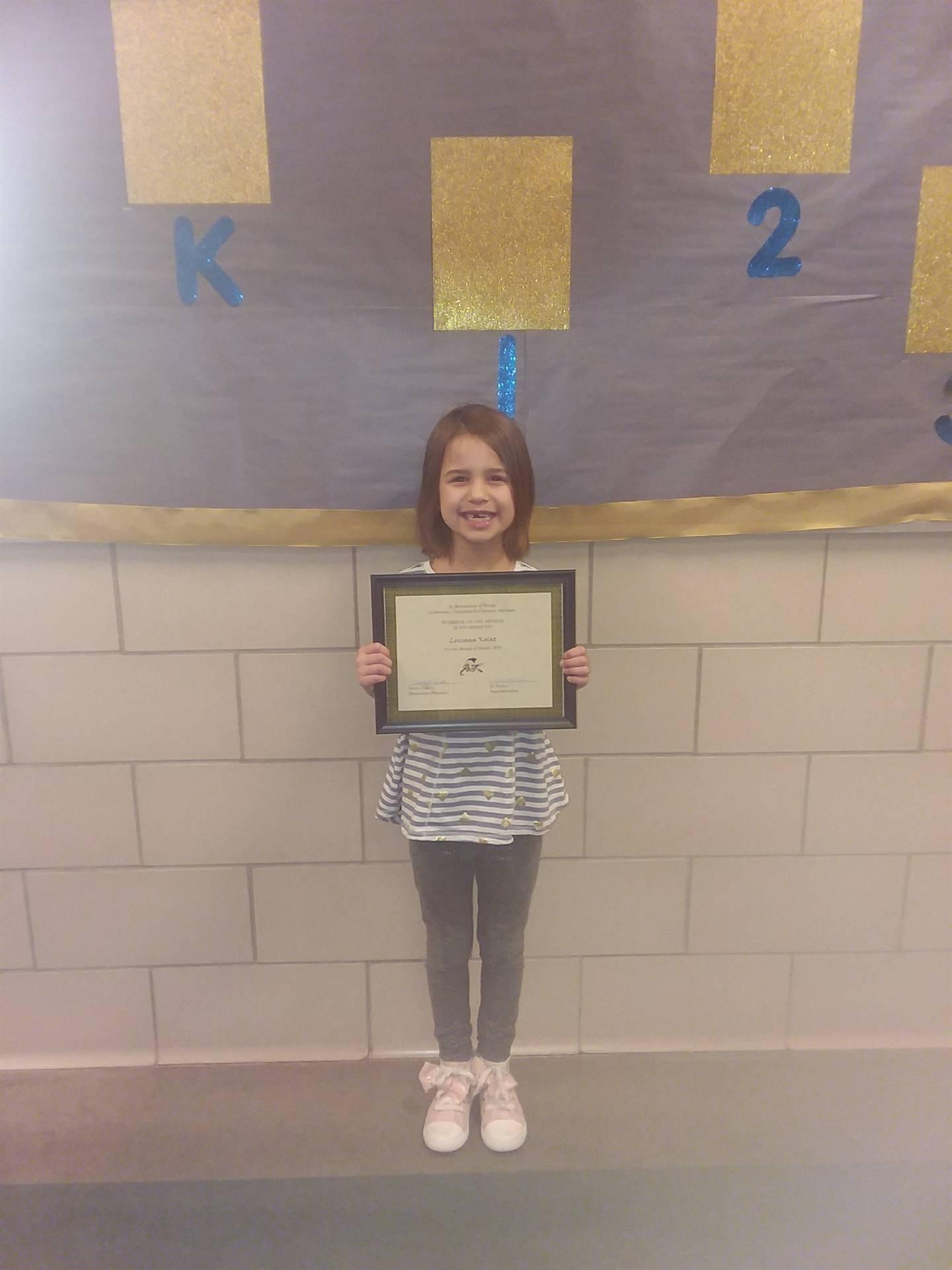 first grade warrior of the month Luciana Kolat