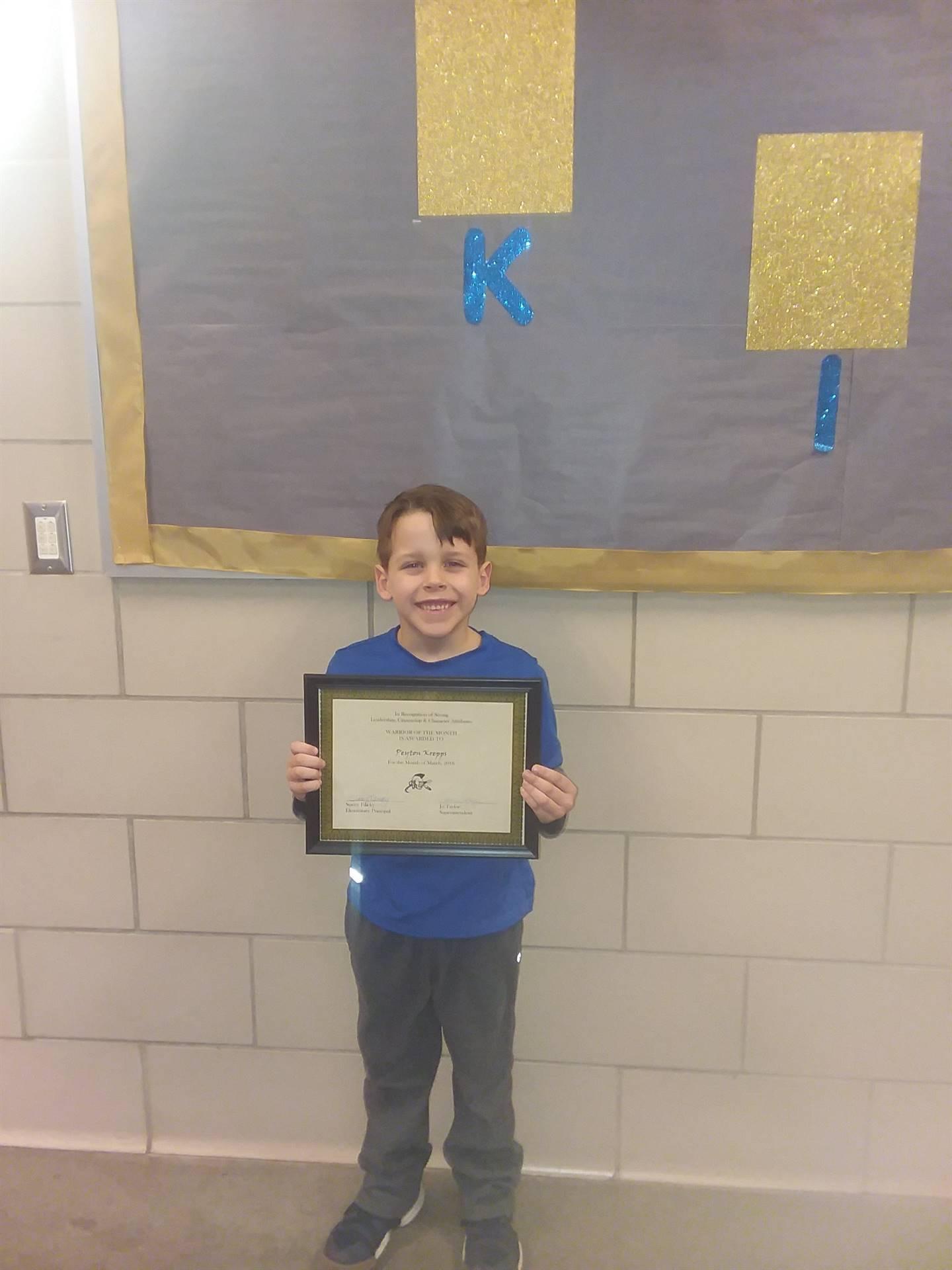 kindergarten warrior of the month peyton krepps