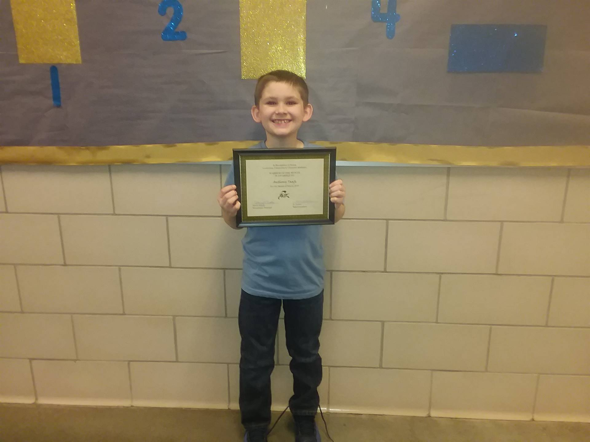 third grade warrior of the month anthony taafe