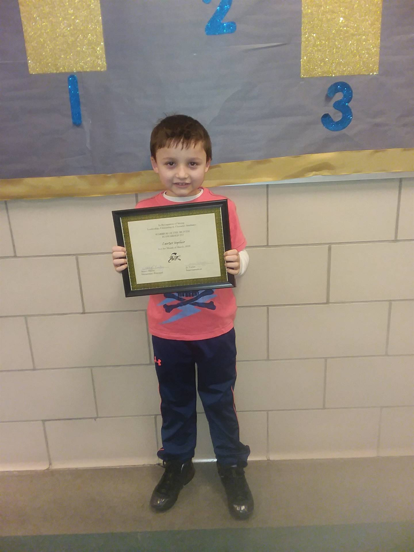 second grade warrior of the month carter upshir