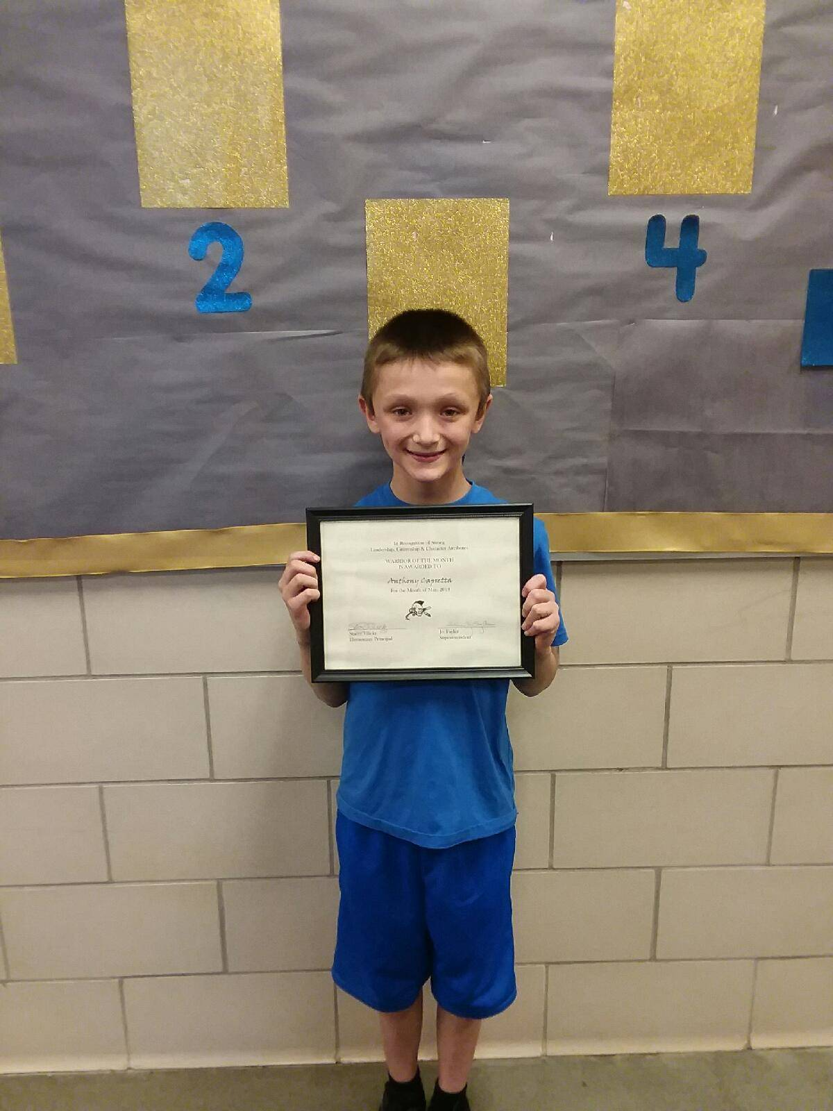 third grade warrior of the month anthony capretta