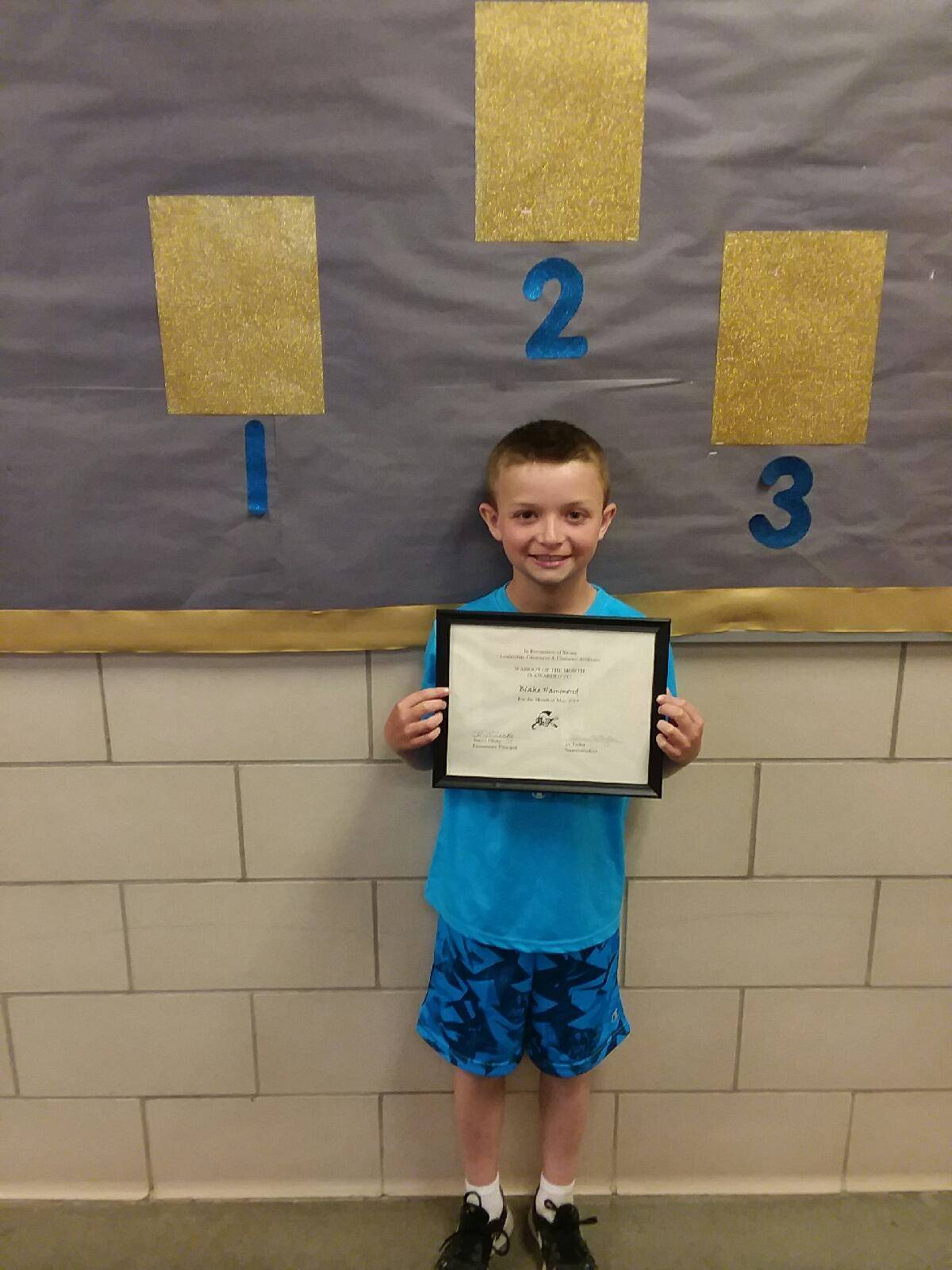 second grade warrior of the month blake hammond