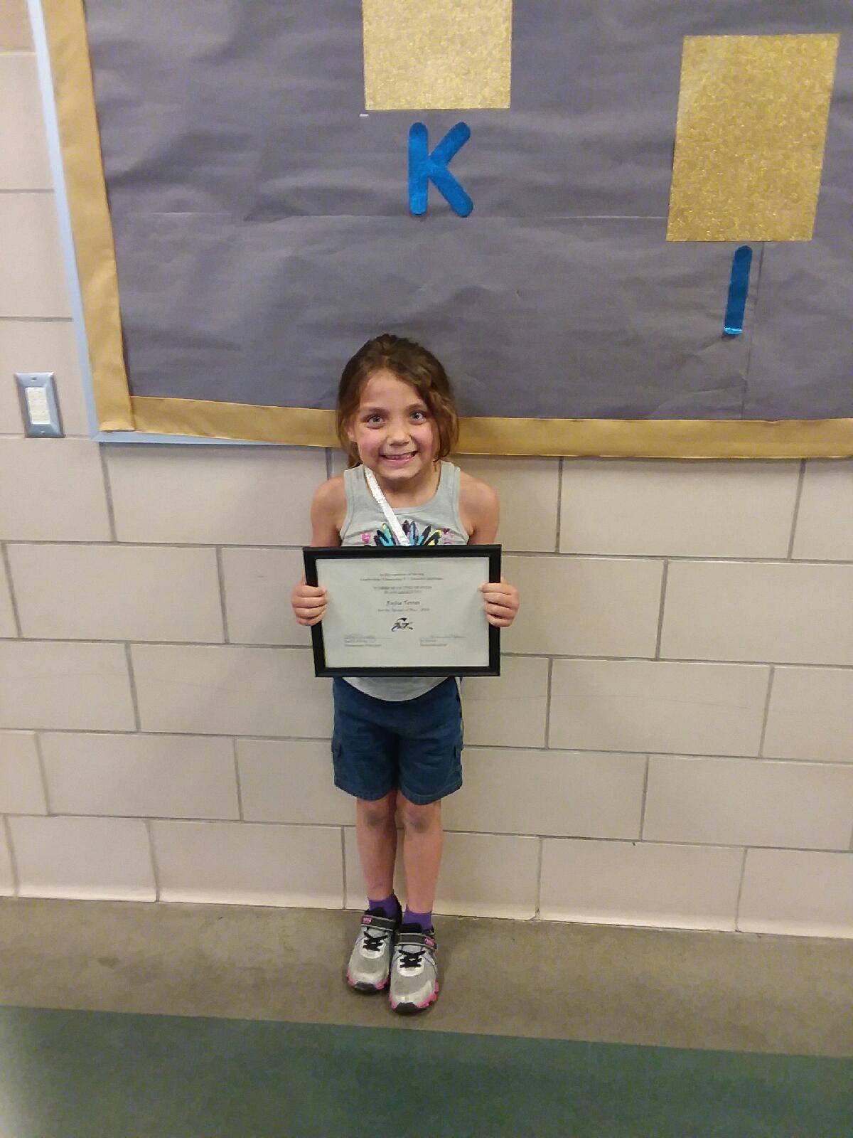 kindergarten warrior of the month rylie torres