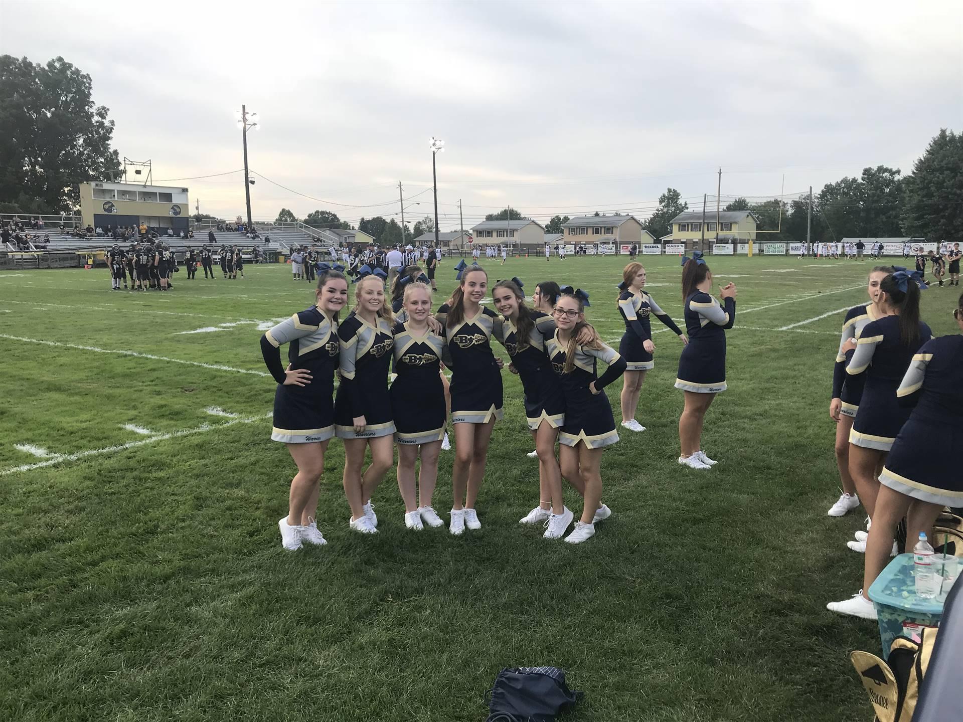 Brookfield High School cheerleaders before the Week 1 football game
