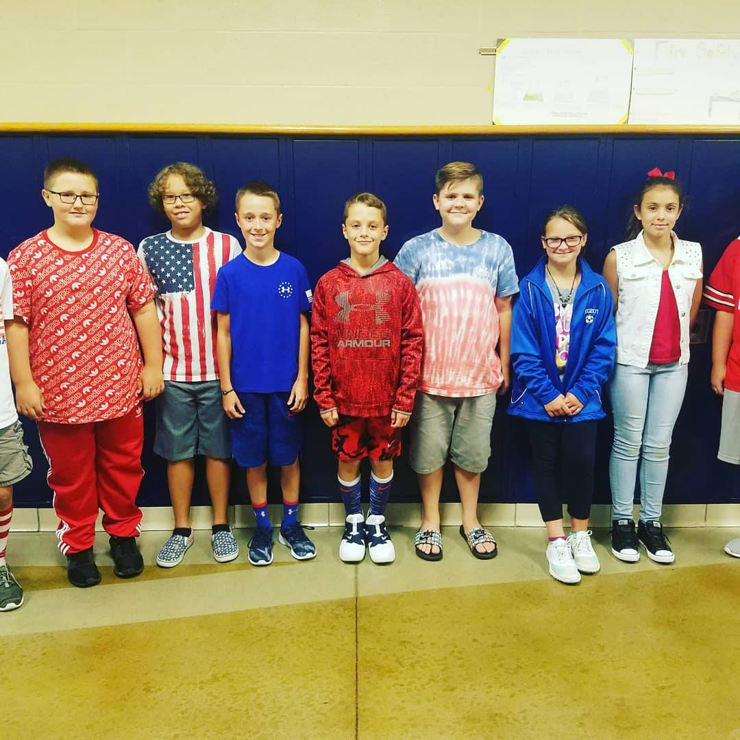 BMS Students dressed in Red, White & Blue on Patriot Day (September 11th).
