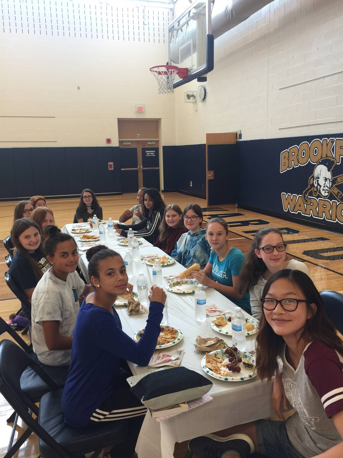 Mr. Joseph's 8th Grade Fitness Class enjoying a Healthy Lunch.