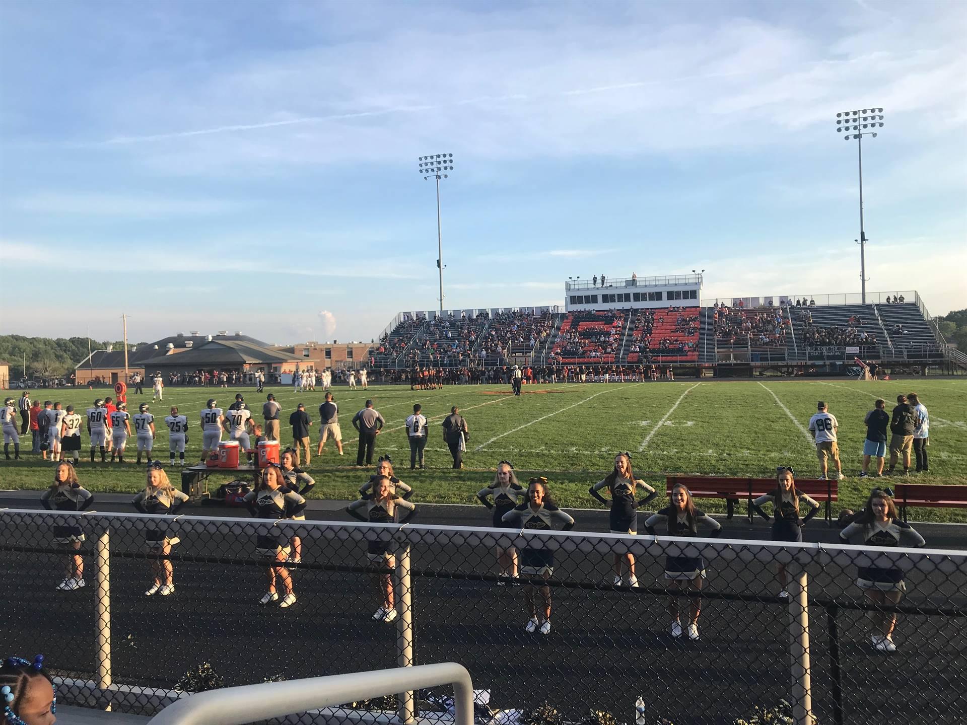Brookfield High School cheerleaders show team spirit during the Week 2 football game.