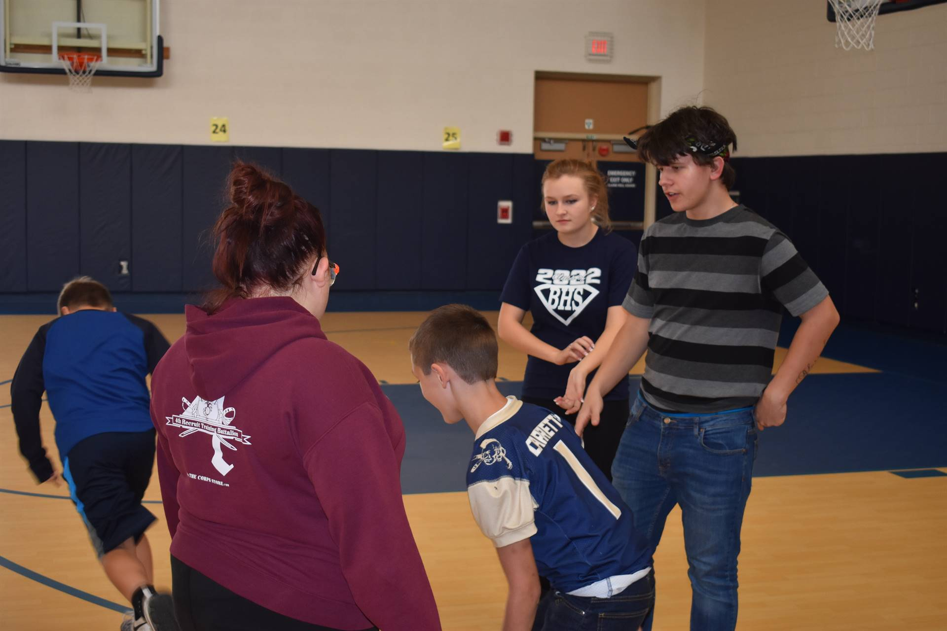 Brookfield High School students help out Brookfield Elementary School gym classes.
