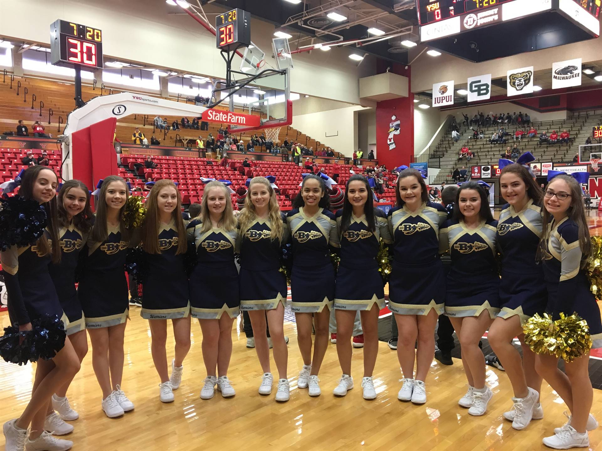 BHS Cheerleaders cheered at halftime during a YSU Mens Basketball game.