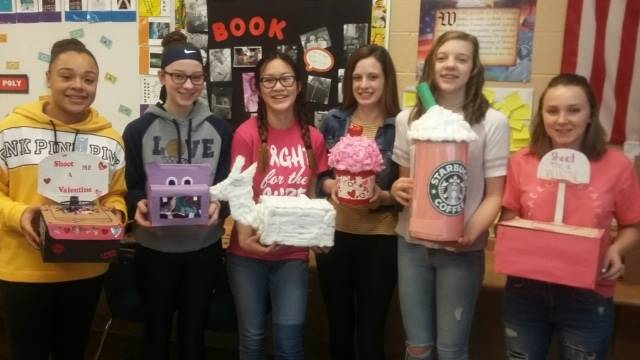 8th Grade Students got creative during Valentines Day.